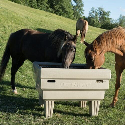 Two horses eating out an OptiMizer with one in the background